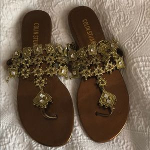 Grecian jeweled thong sandals